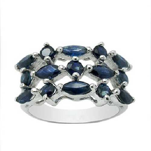 Rings Qi Xuan_Dark Blue Stone Elegant Ring_Fashion Ring_S925 Solid Silver Fashion Dark Blue Rings_Manufacturer Directly Sales