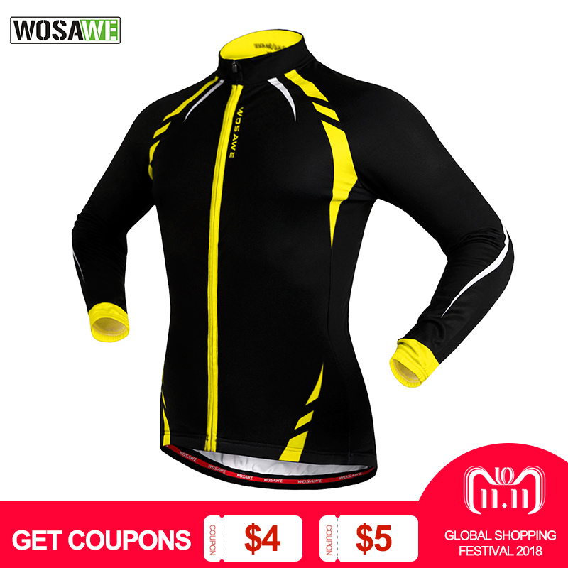WOSAWE Thermal Cycling Jackets Yellow Windproof Long Sleeve Jersey MTB Bike Bicycle ciclismo Reflective Fleece Cycling Clothing цена