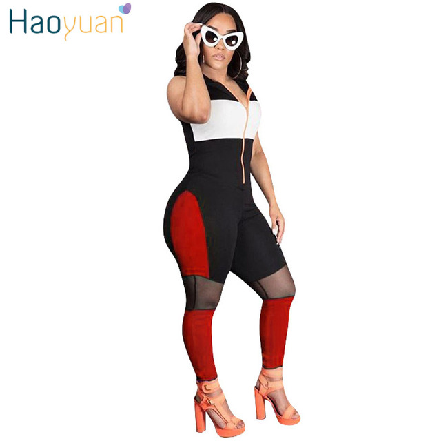 1095502ba31 HAOYUAN Bodycon Jumpsuit Mesh Patchwork One Piece Sexy Summer Overalls  Streetwear Hooded Casual Slim Rompers Womens Jumpsuit