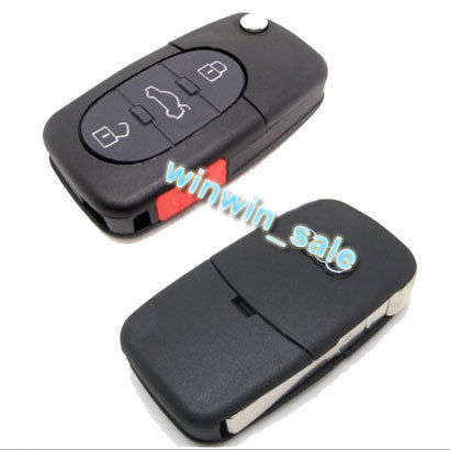 BBQ@FUKA 3 Buttons + Panic Button Folding Remote Key Fob Shell Case Fit For A6 TT A4 A8