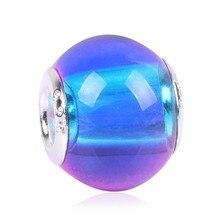 Gradiente Gradiente de Arco Iris Nuevo Llega Encantos de La Manera Europea Murano Glass Beads Fit Pandora Style Pulseras Para Las Mujeres