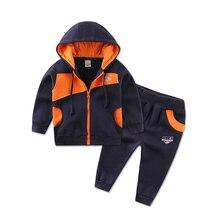 2020 küçük Q hood fermuar bebek giysileri set uzun kollu polar kazak seti erkek çocuk spor kıyafetler kazak erkek takım elbise