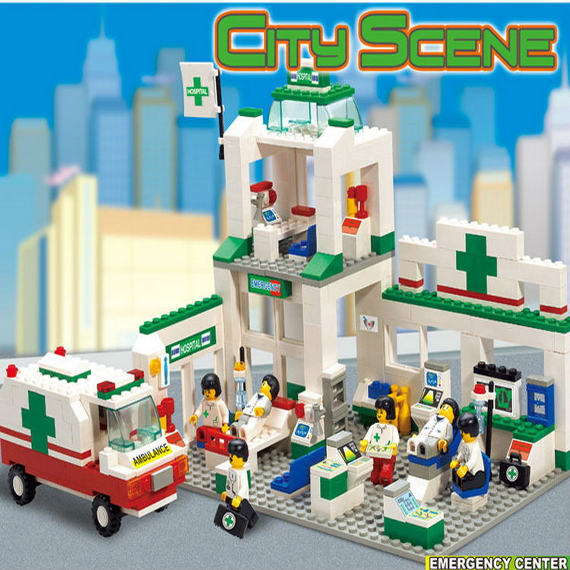 376Pcs/Set 5600 SimCity Hospitals Emergency Center Building Blocks City Scene Ambulance Task Construction Enlighten Assembe Toys image