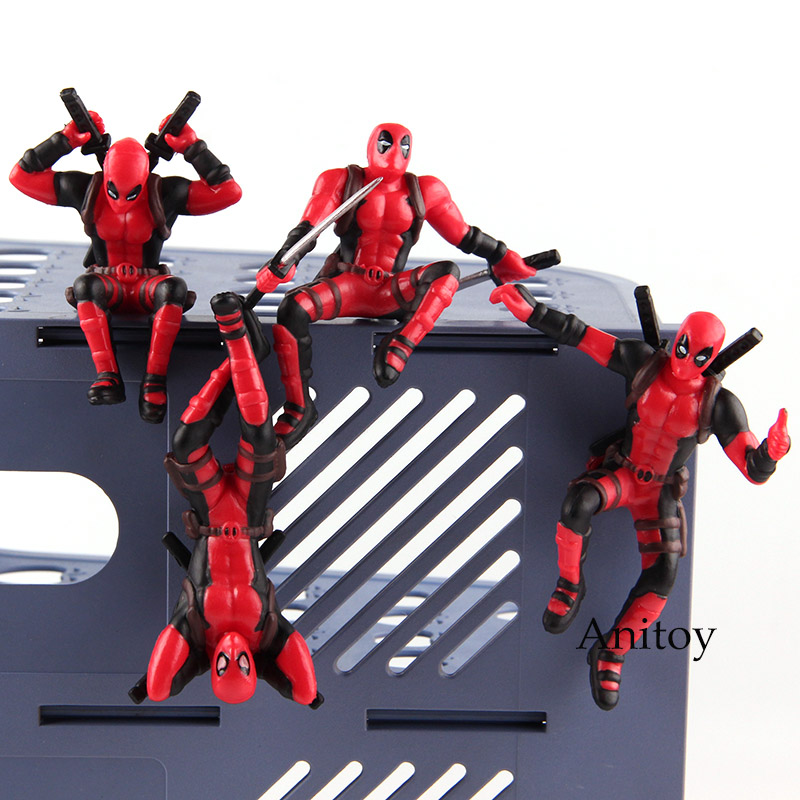 Marvel Legends X-men Deadpool Mini PVC Figure Hot Toys Deadpool Toy Car Home Decoration Doll with Magnet 4pcs/set 8.5cm