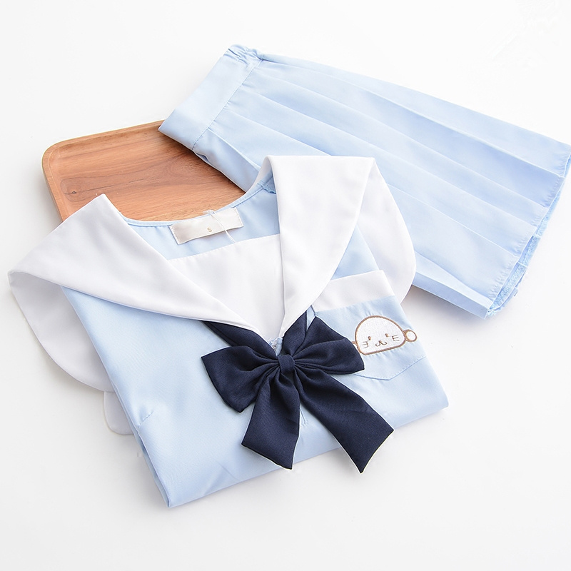 Japanese Cute  Embroidery School Uniform For Girls Sailor Tops+Tie+Skirt Navy Style Students Clothes For Girl Clothing