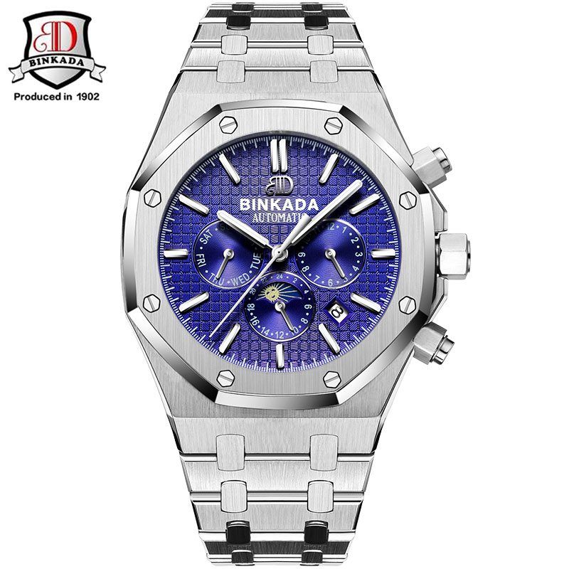 где купить 2017 New Men Mechanical Watches Men Luxury Brand Full Steel Waterproof Business Automatic Wristwatches For Men Royal Style по лучшей цене