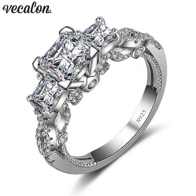 Vecalon Romantic Vintage Female ring Three-stone AAAAA Zircon cz 925 Sterling Silver Engagement wedding Band ring for women
