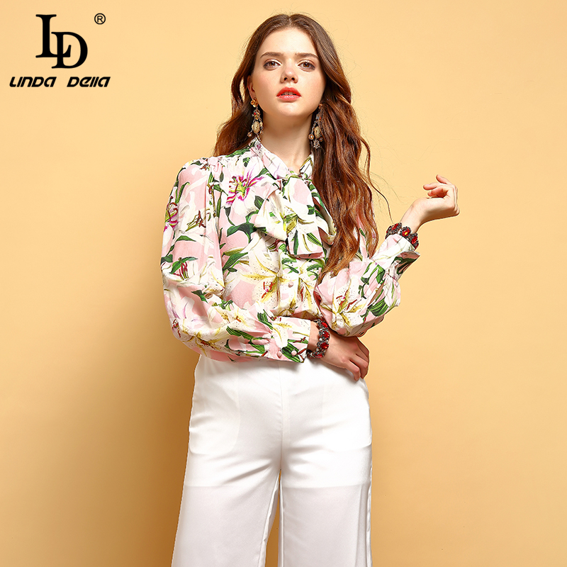 LD LINDA DELLA New 2019 Spring Fashion Vintage Tops Women s Long Sleeve Bow Tie Floral