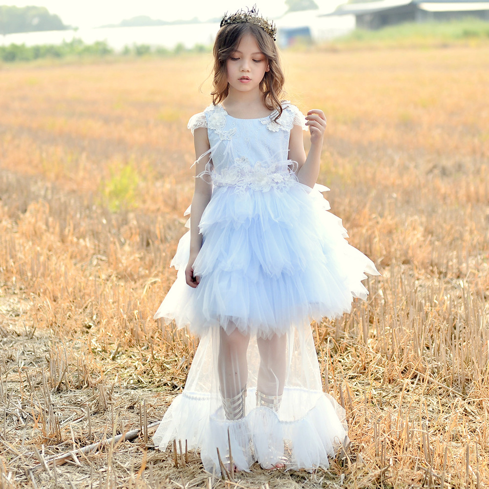 Girls Lace Tutu Dress Kids Dresses for Girls Children s Party Wedding Dress Feather Elegant Dress