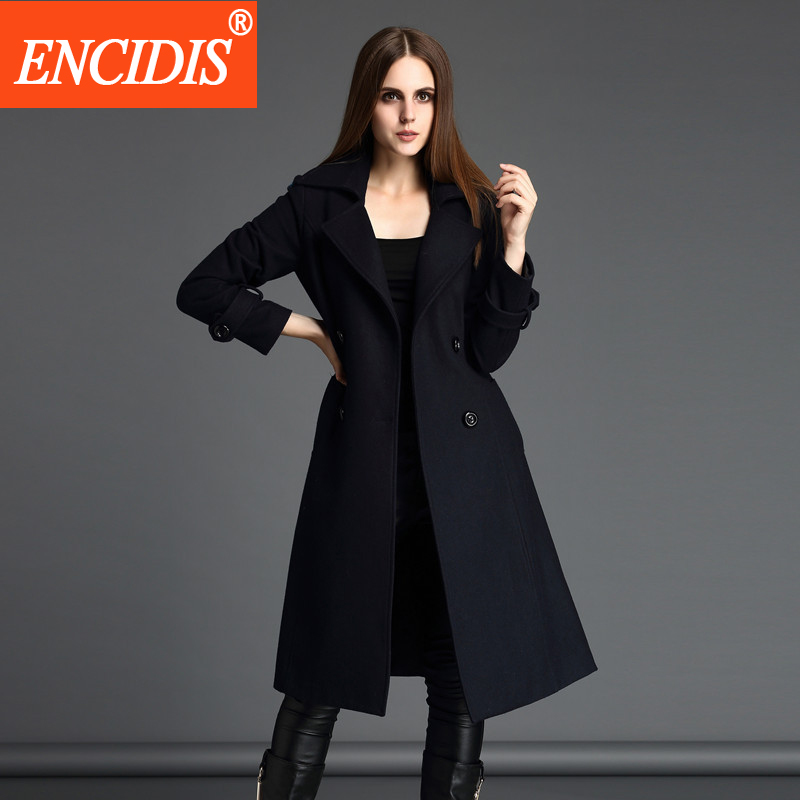 European Lady Trench Coat 2017 Winter and Autumn Windbreaker Women Coats Casual Slim Outerwear Belt Long Overcoat F128