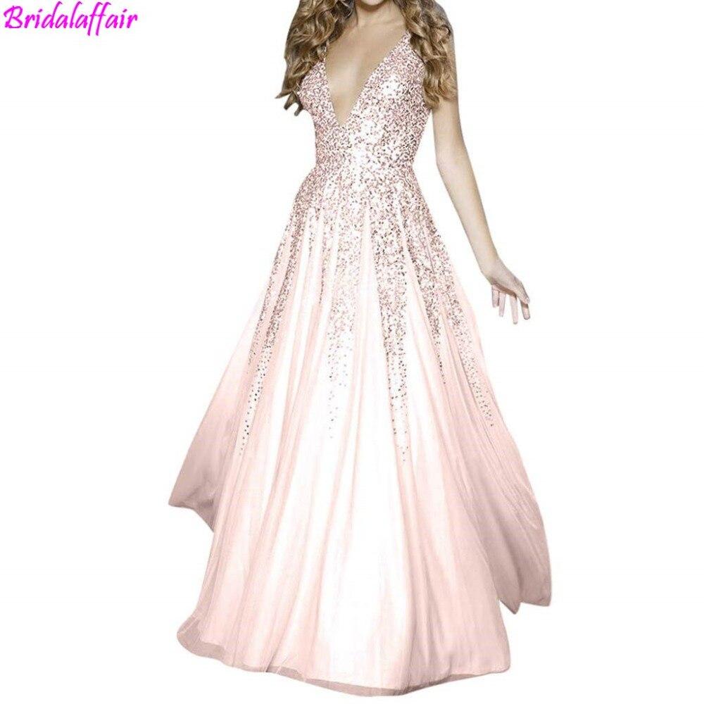 Pink V-Neck Beads Bodice Open Back A Line Long fork Evening Dress Party Elegant Vestido De Festa Fast Shipping Prom Gowns