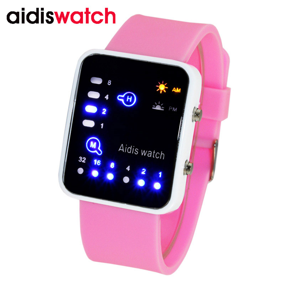 2017 New Children Digital Multifunction Alarm Rectangle Dial Students Sport Watch Jelly Silicone Band LED Electronic