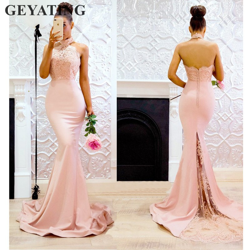 Elegant Blush Pink Lace Mermaid   Bridesmaid     Dresses   Appliques Halter Off the Shoulder Long Maid of Honor   Dress   Formal Party Gowns