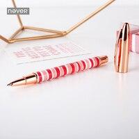 Nunca Rosa de Metal Pluma Del Gel Con 0.5mm de Recarga de Tinta Negro Embalaje de Regalo 2018 Creativo de Corea Papelería de Oficina Y Escolares suministros
