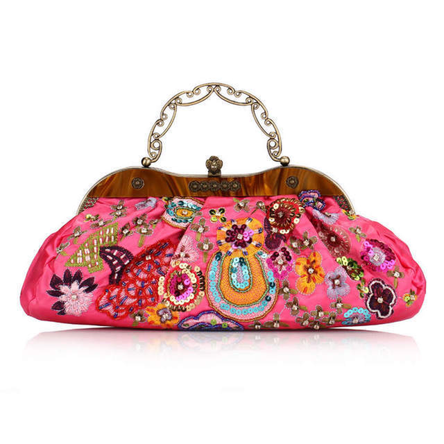 Bamboo Charm Vintage Embroidered Beading Flower Fl Handbag Pouch For Women Metal Handle Single Chain Shoulder