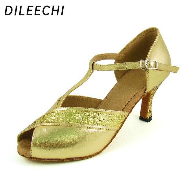DILEECHI gold PU Latin dance shoes adult women s ballroom dancing shoes  hot-selling dance shoes 8cm fcd99b8eea4d