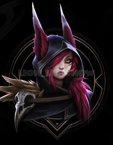 Xayah Wig Ears League of Legends New 136th Champion LOL Cosplay Red Ponytail