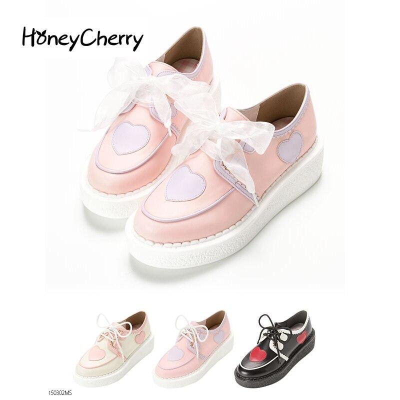 ФОТО Single 2015 lolita ribbon love platform single shoes casual female shoes