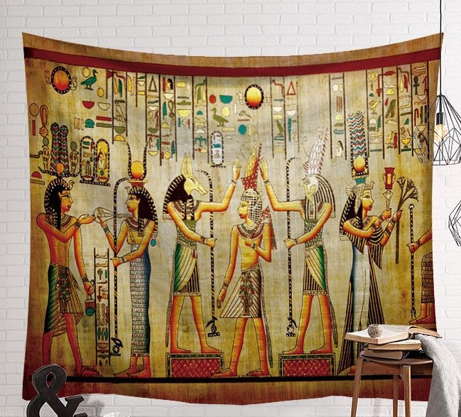Image 1 - CAMMITEVER Vintage Egypt Time Wall Hanging People Bed Sheets Decorative Tapestry Mystery Art Beach Mat 130x150cm 150x200cm-in Tapestry from Home & Garden