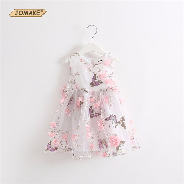 Butterfly Petals Baby Girl Dress New 2017 Summer Dress Girls Tutu Party Dress Princess Mesh Toddler Floral Girls Clothes vestido