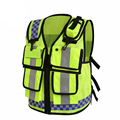 Motorcycle HONGKONG STYLE Reflective Vest Lattice Screen Cloth Safety Vest Traffic Police Zipper Reflective vest