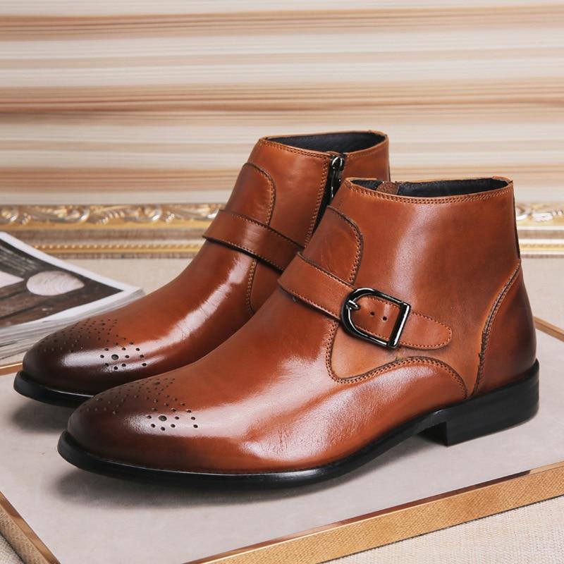 Todos De Retro Brown Do Top Homens Cowboy Montaria Jogo Zipper Outono preto Couro Mens Bullock Esculpido Chelsea Alta Inverno Os Sapatos Botas PzRxyqw5