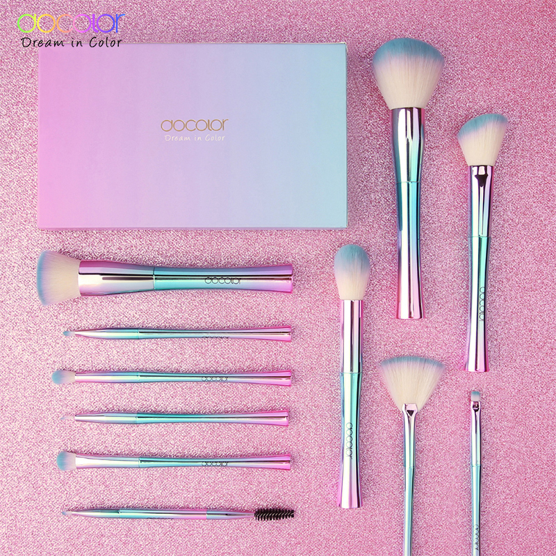Docolor 11 Pcs Makeup Brushes Fantasy Kabuki Powder Blending Brush Foundation Eyeshadow Brushes Cosmetics Soft Synthetic Hair