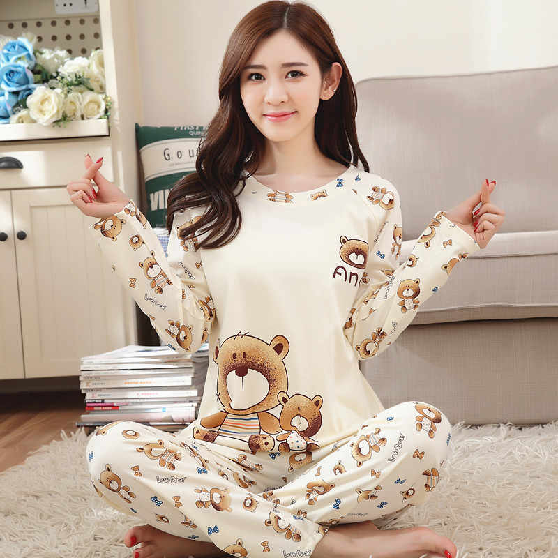 891eafa780f79 ... Fashion Woman Lovely Wear Leisure Clothes Personality 2018 Autumn Long  Sleeved Women Pajamas for Women Pyjamas