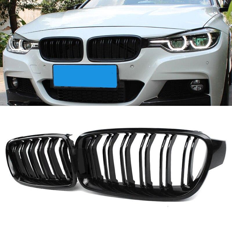 Grilles de voiture noir brillant avant rein calandre accessoires pièces de rechange pour BMW F30 F31 320i 328i 335i berline/Wagon 2012-2017