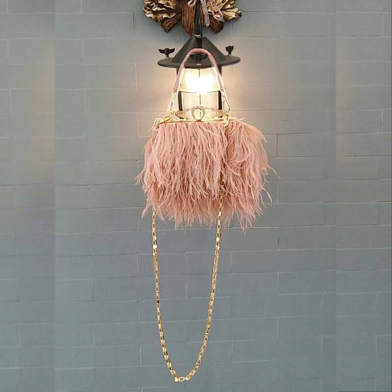 все цены на 2017 Real Ostrich Fur Women Evening BagsDiamond Ring Soft Tassel Handmade Wedding Shoulder Bag Handbags