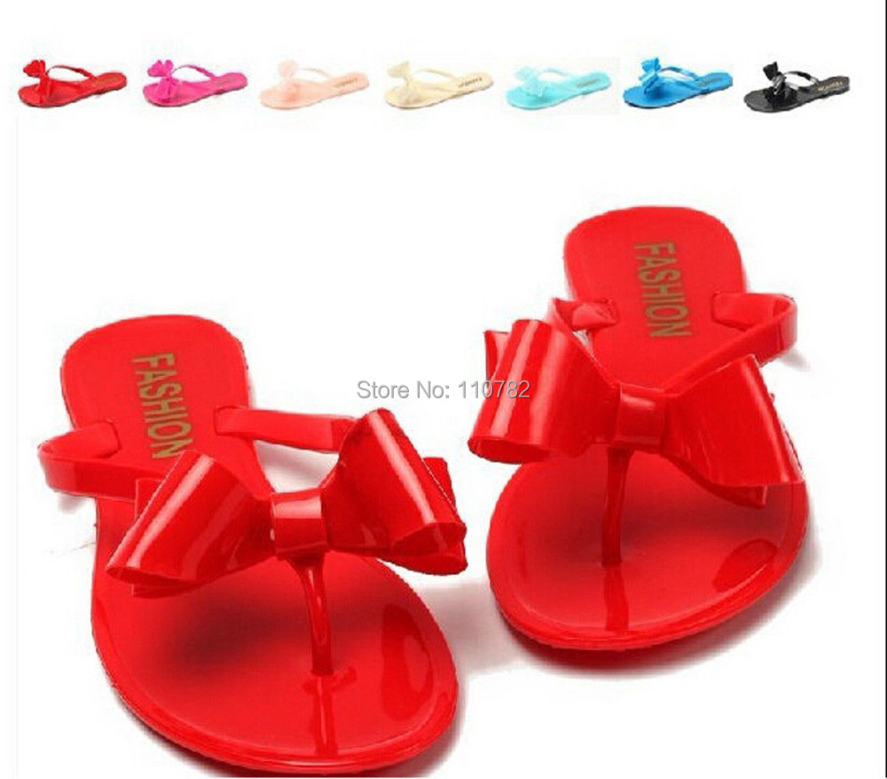 c64242a85 2014 Designer Summer Ribbon Bow Jelly Soft Plastic Sandals Flats Thongs  Shoes