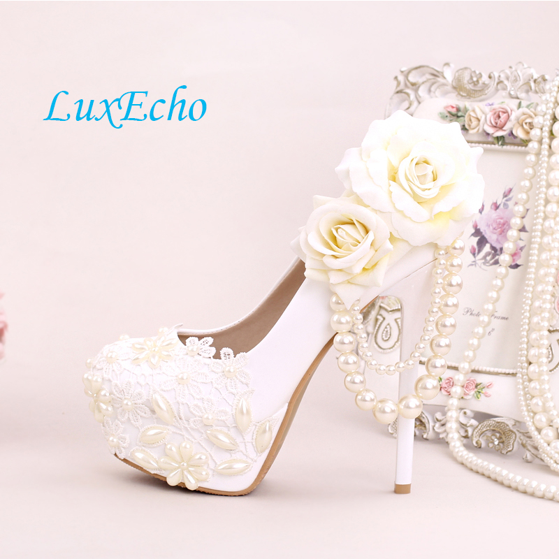 White round toe shallow mouth ultra high heels wedding shoes pearl lace flower bridal shoes platform thin heels beaded shoes black 2016 wine red navy blue cashmere genuine leather round toe shallow mouth ultra high heels female boots female