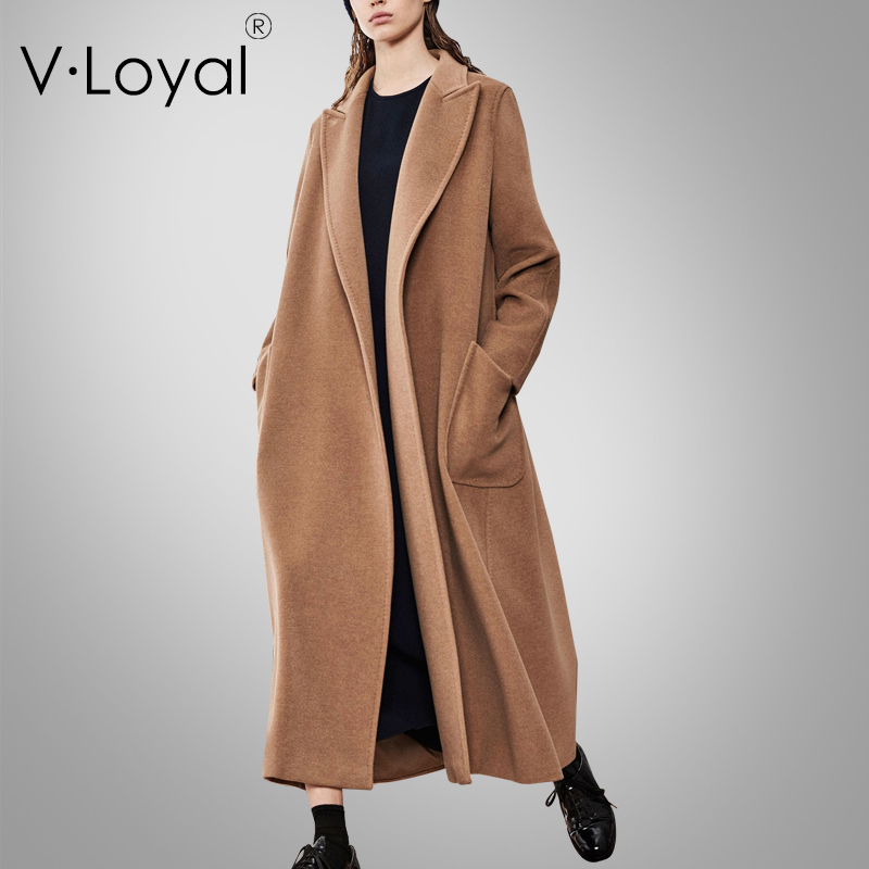 Autumn, winter, new fashions, pockets, woolen coat, European and American long cashmere coat.