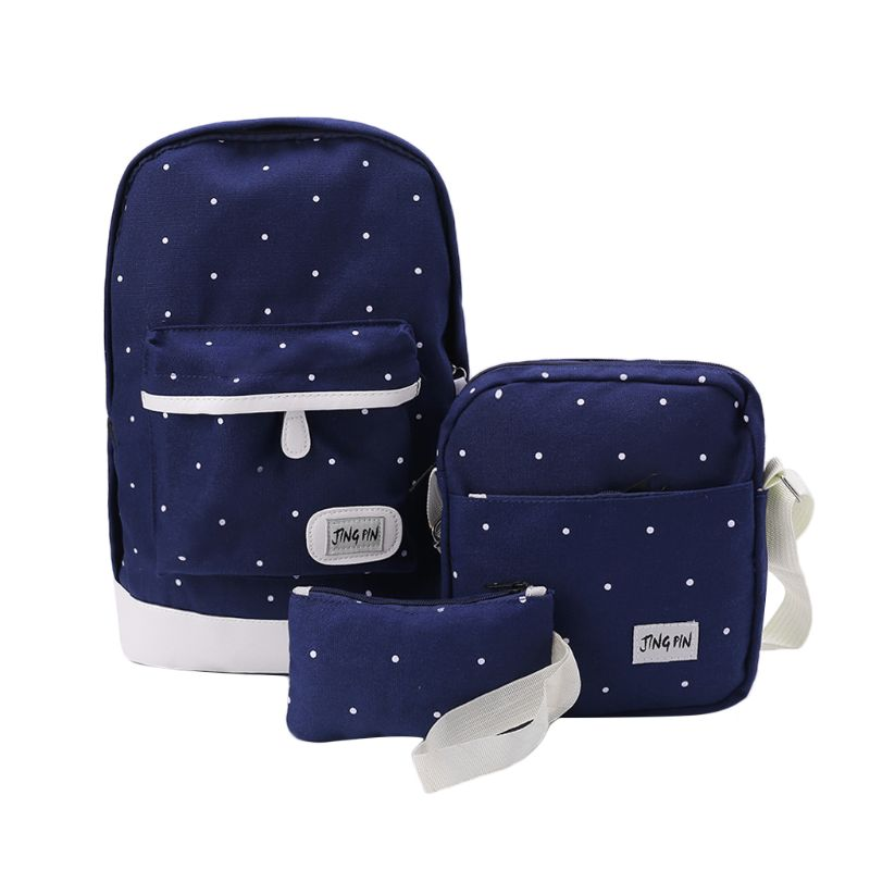 3PCS Unisex Canvas Backpack School Shoulder Bag Rucksack Travel Bags Casual Daypack Bookbag