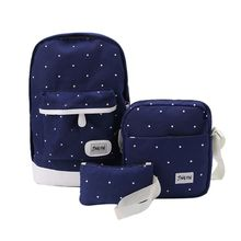 3PCS Unisex Canvas Backpack School Shoulder Bag Rucksack Travel Bags Casual Daypack Bookbag