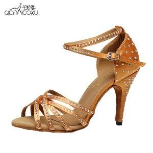 5e5a9004a0e4 10 cm Bronze Black Satin Latin dancing shoes 2017 Women s Rhinestone  companionship