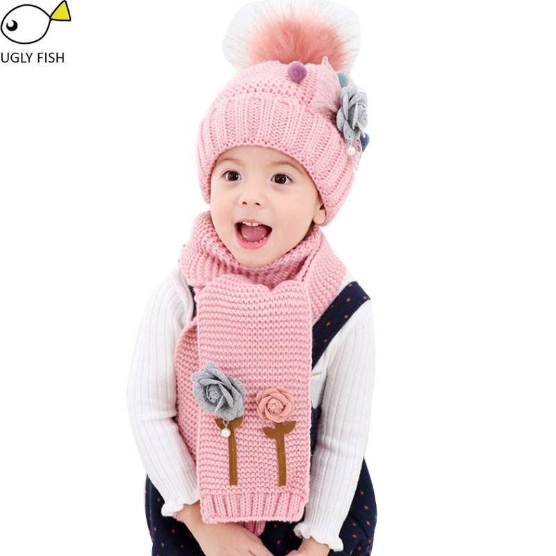 Hat And Scarf Set For Children Girls Winter Hat Set Knitted With Flowers Winter Hats For Kids Pompom Hat Scarf Set