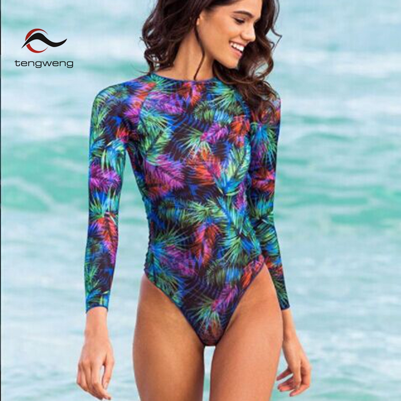 Bikini 2020 Surfing Swimsuit for Women Long Sleeve One Piece Bodysuit Leaves Print Sexy Bikini Brasileño Summer Push Up Swimwear 6