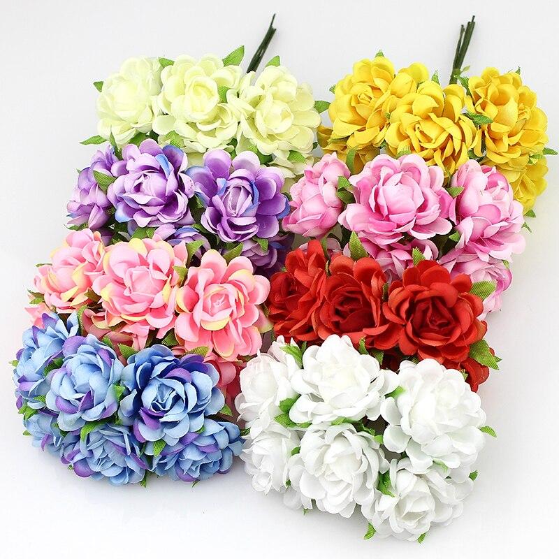 cm rosa artificial ramo de flores de seda de flores de tela para la boda