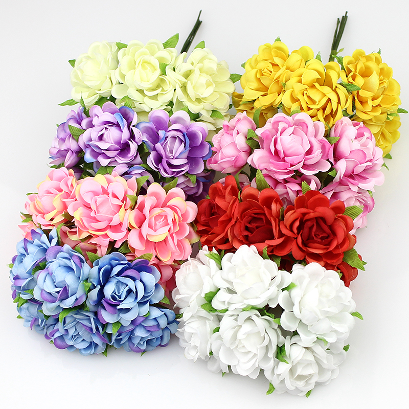 3cm artificial rose silk flower bouquet fabric flowers for Artificial flower decoration for home