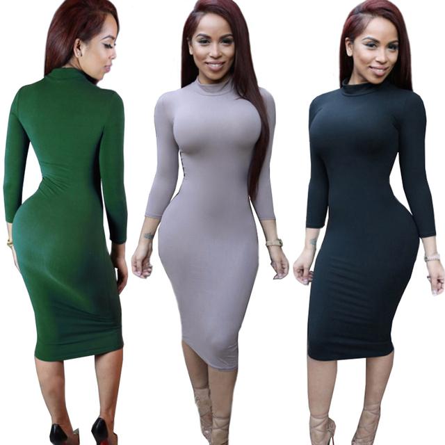 Women's Sexy Slim Fashion Europe Style High Neck Clubwear Night Wear Bodycon Dresses 8 Colors KH950173