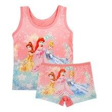 Disney принцессы пижамы с персонажами из мультфильмов, комплект Жилет для малышей футболка Шорты girlssleeveless, пижама с принтом машин, детская одежда для дома, ночная рубашка