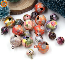10PCS Multi Flower Jingle Bells Loose Beads For Christmas Tree/Dog Pendants Decor DIY Crafts Accessories Festival Party Supplies 5size 10pcs lot gold silver 30 25 35mm jingle bells fit festival christmas decoration jewelry craft pendants phone decorations