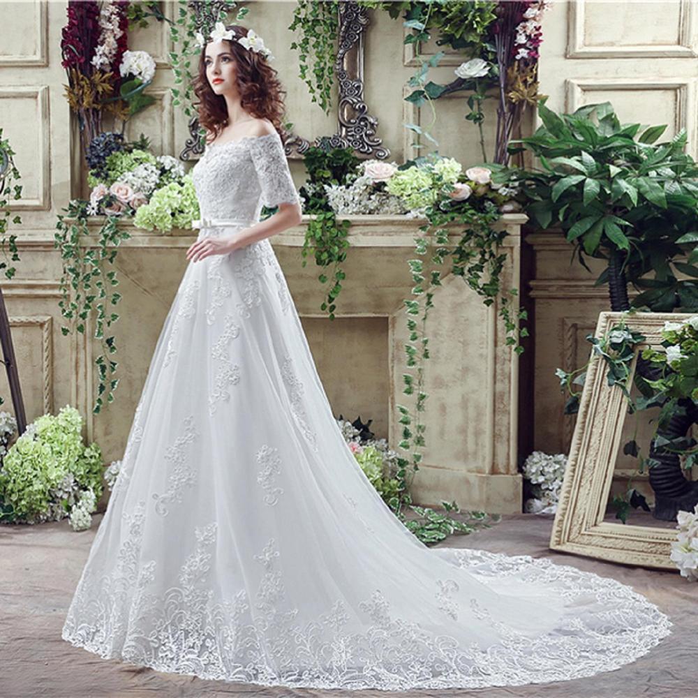 2019 Fashion Spring Summer Lace Ruched Tulle Mermaid Wedding Dress Button White / Ivory Hot Sale Vestido De Festa Curto