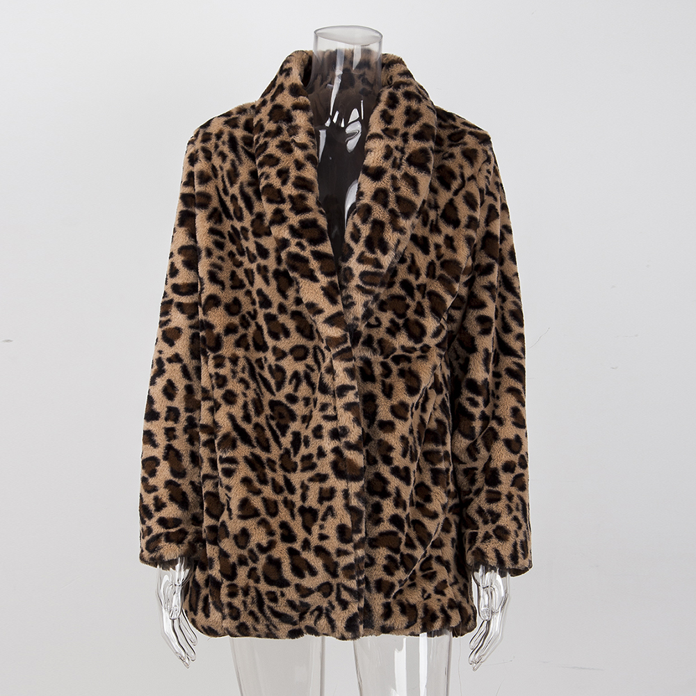 Leopard Coats 2019 New Women Faux Fur Coat Luxury Winter Warm Plush Jacket Fashion artificial fur Innrech Market.com