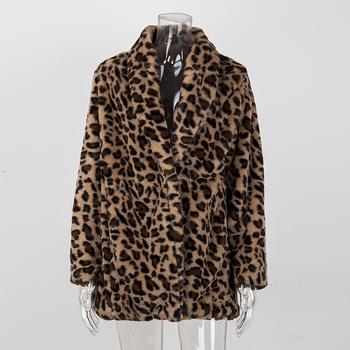 Leopard płaszcze 2019 nowe damskie sztuczne futro luksusowe zimowe ciepłe pluszowa kurtka moda sztuczne futro damskie znosić wysokiej jakości tanie i dobre opinie Faux futra Szczupła Natural color High Street REGULAR NONE Moda szczupła futro Skręcić w dół kołnierz Otwórz stitch