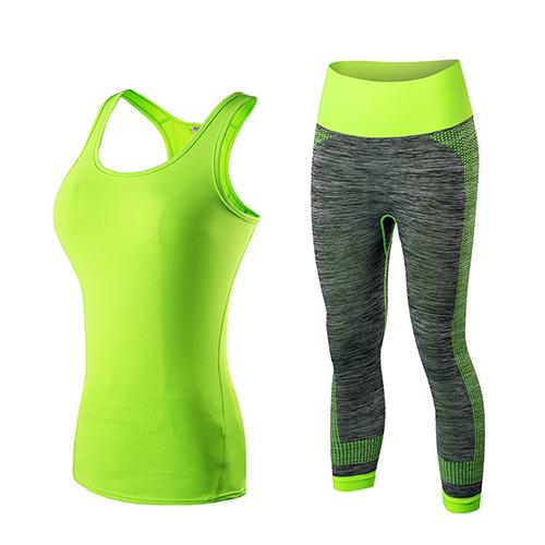 High Quality 2018 2pcs Women Sportswear Workout Tracksuit Fitness Gym Tank Top & Capri Pants Gym Clothing Black Yoga Sets