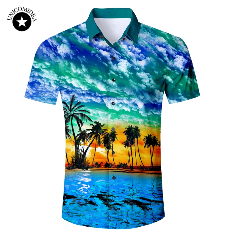 2019 New Men's Short Sleeve Hawaiian Shirt Summer Style Plam Tree Men Casual Beach Hawaii Shirts Fit Slim Male Blouse Summer Top