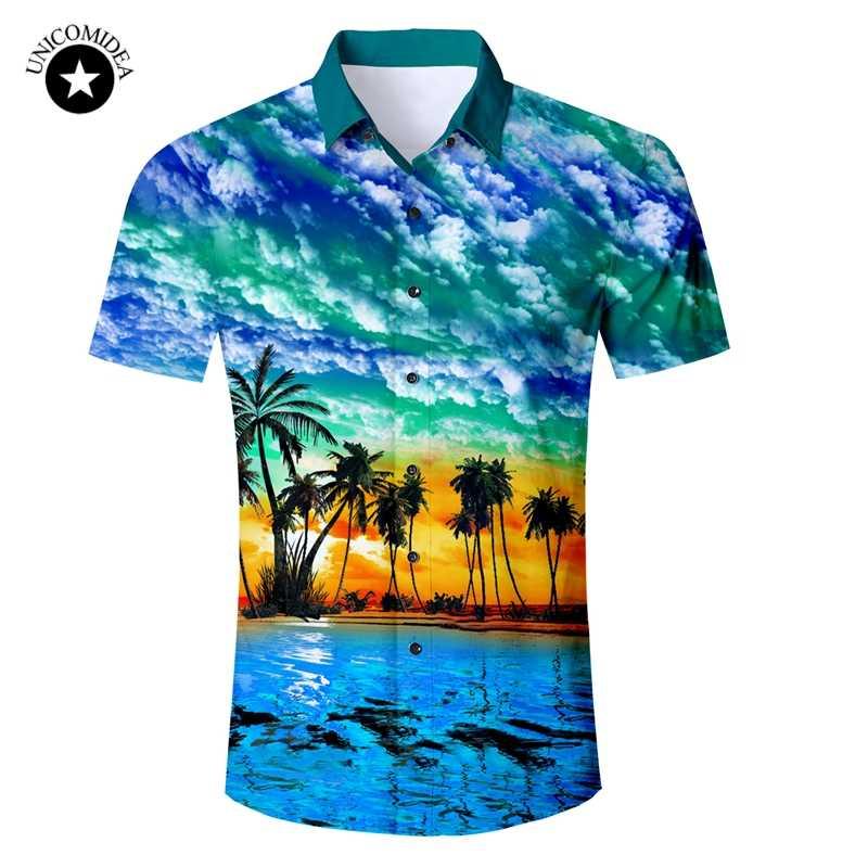 2019 Новый Для мужчин; короткий рукав гавайская рубашка Летний стиль Пальма Для мужчин Повседневное пляжные гавайская рубашка Slim Fit Мужская блузка летний топ
