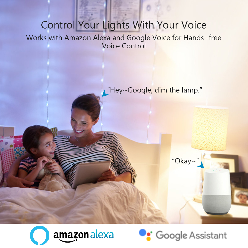 Tuya Smart Life APP Dimmable E27 WiFi RGB LED Bulb Light Voice Control by Echo Alexa Google Assistant 2.4G WiFi Timer Control-2